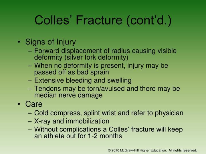 Colles' Fracture (cont'd.)