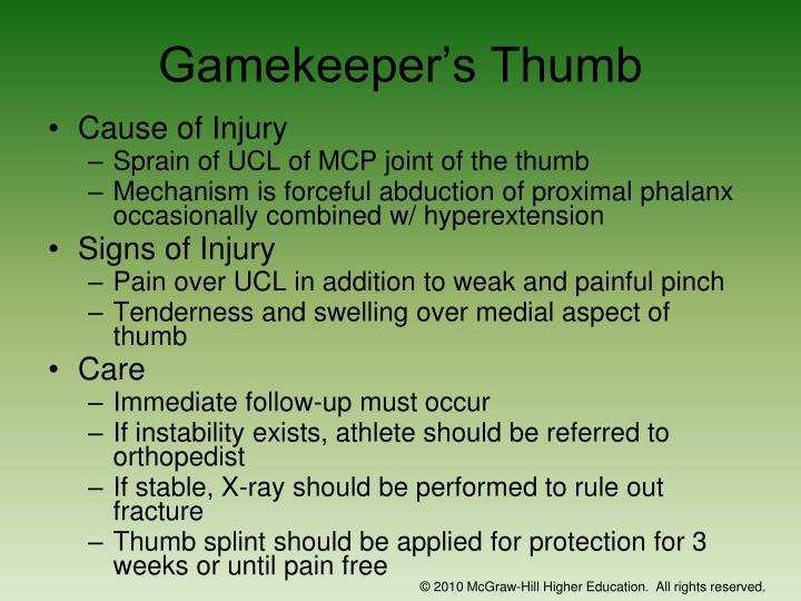 Gamekeeper's Thumb