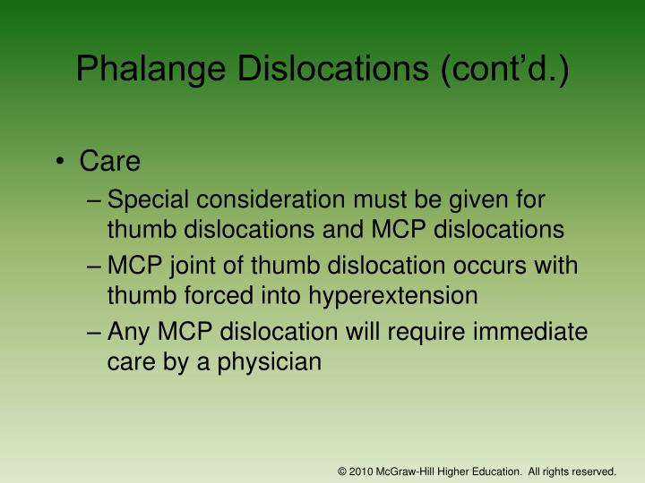 Phalange Dislocations (cont'd.)