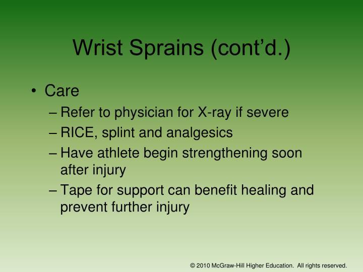 Wrist Sprains (cont'd.)