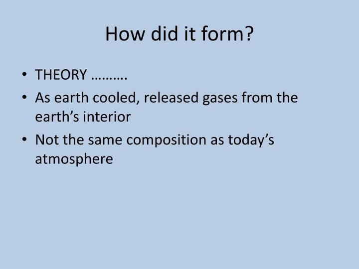How did it form?