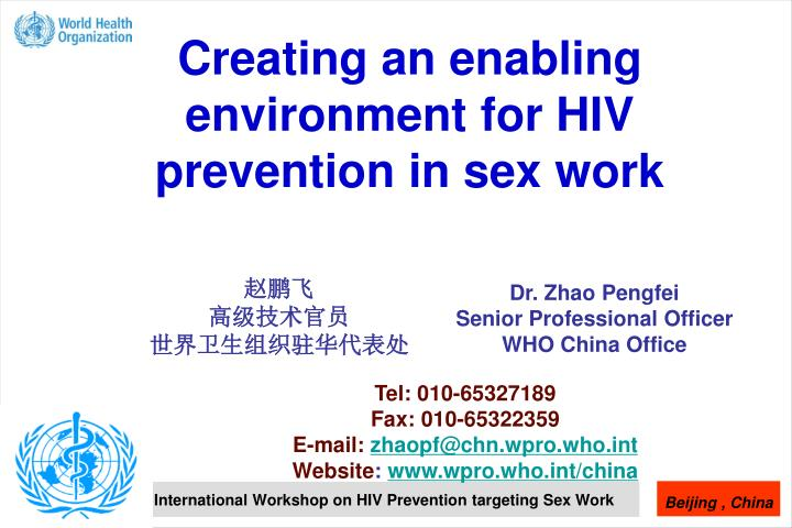 Creating an enabling environment for hiv prevention in sex work