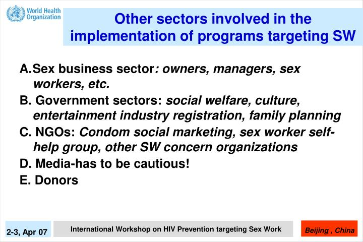 Other sectors involved in the implementation of programs targeting SW