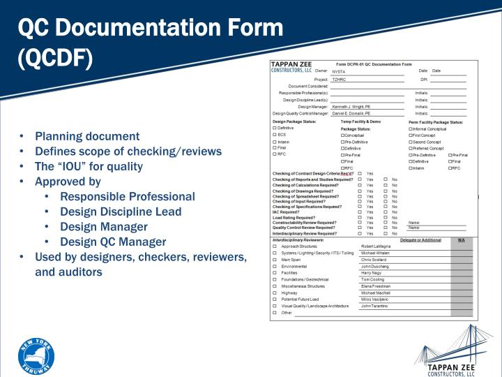QC Documentation Form (QCDF)
