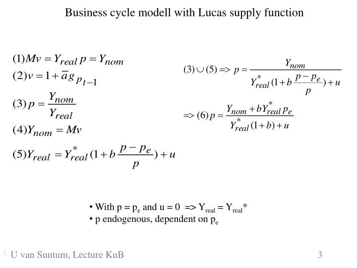 Business cycle modell with Lucas supply function