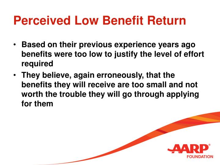 Perceived Low Benefit Return