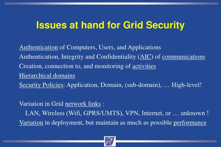 Issues at hand for Grid Security