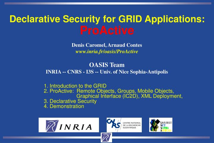 Declarative Security for GRID Applications: