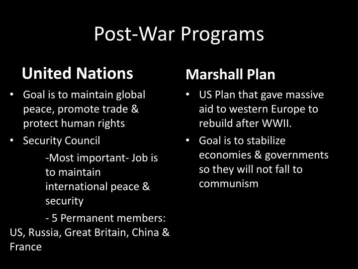 Post-War Programs