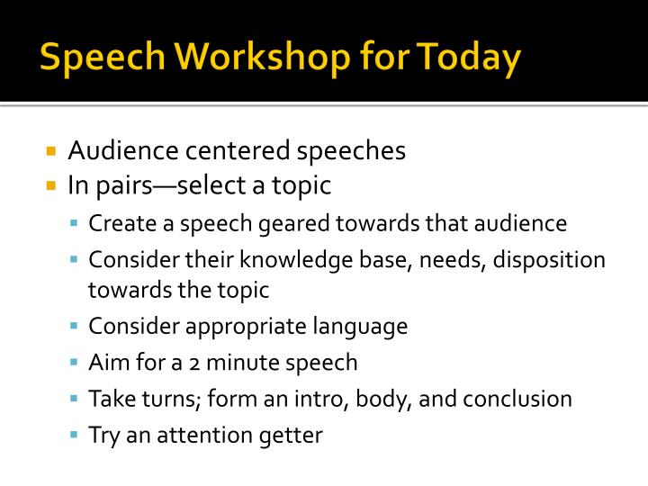 Speech Workshop for Today