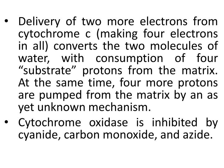 "Delivery of two more electrons from cytochrome c (making four electrons in all) converts the two molecules of water, with consumption of four ""substrate"" protons from the matrix. At the same time, four more protons are pumped from the matrix by an as yet unknown mechanism."