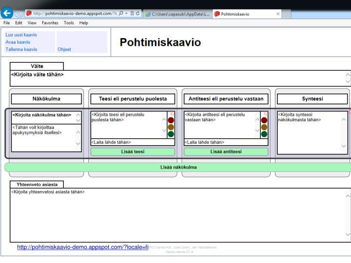 http://pohtimiskaavio-demo.appspot.com/?locale=fi