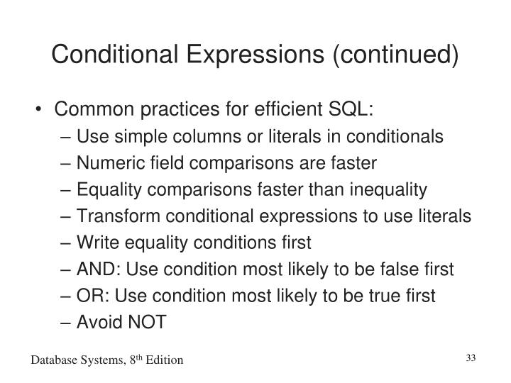 Conditional Expressions (continued)