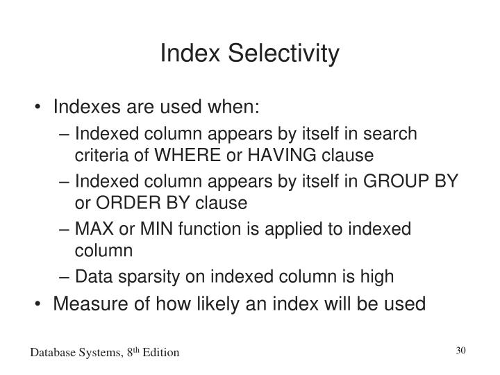 Index Selectivity