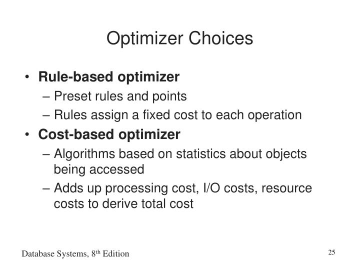 Optimizer Choices