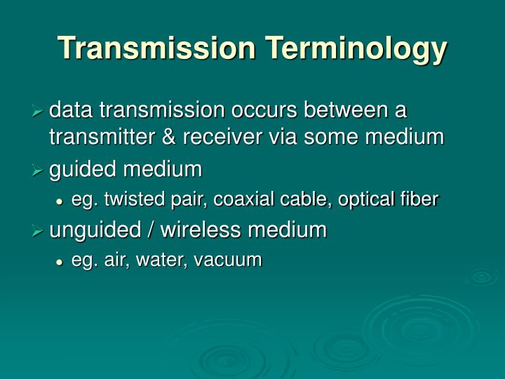 Transmission terminology