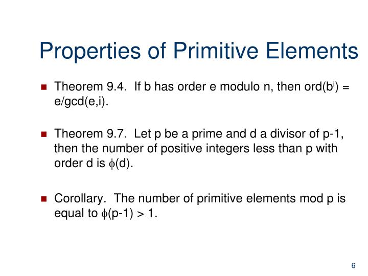 Properties of Primitive Elements