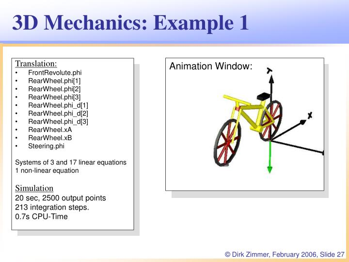 3D Mechanics: Example 1