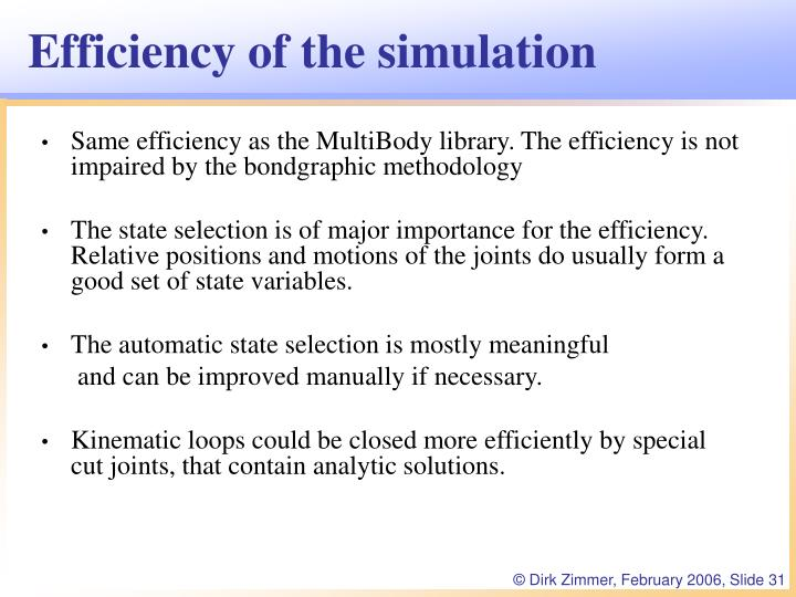 Efficiency of the simulation