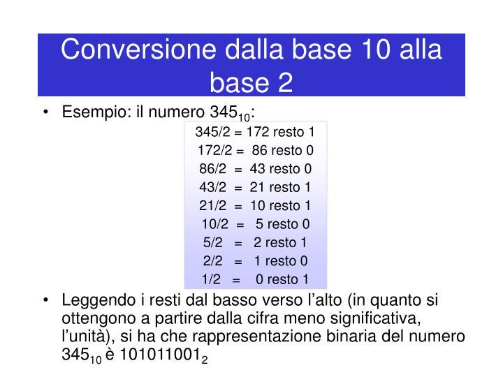 Conversione dalla base 10 alla base 2