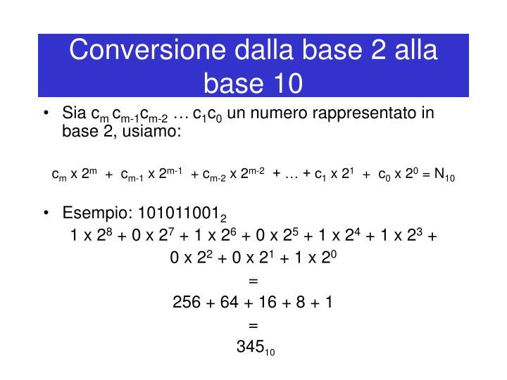 Conversione dalla base 2 alla base 10