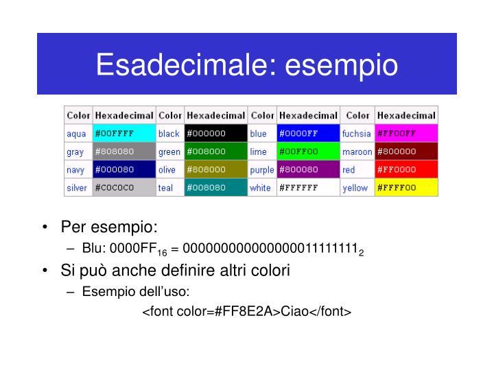 Esadecimale: esempio