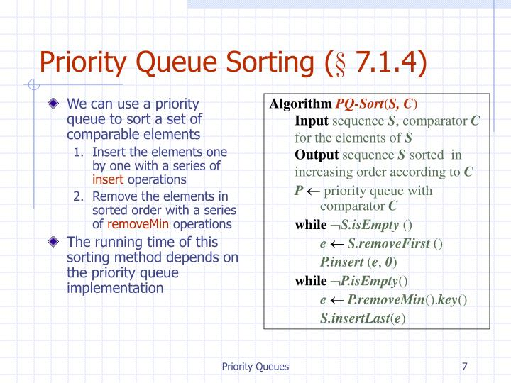Priority Queue Sorting (§ 7.1.4)