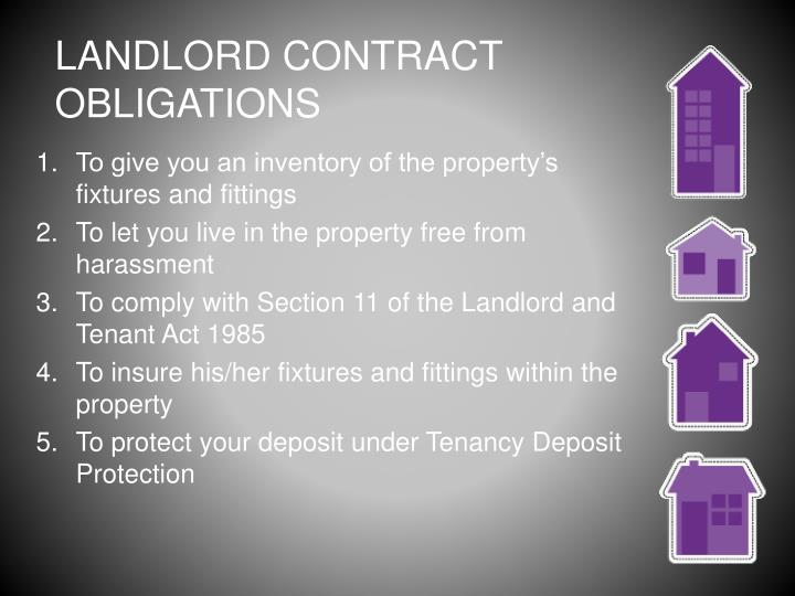 LANDLORD CONTRACT OBLIGATIONS