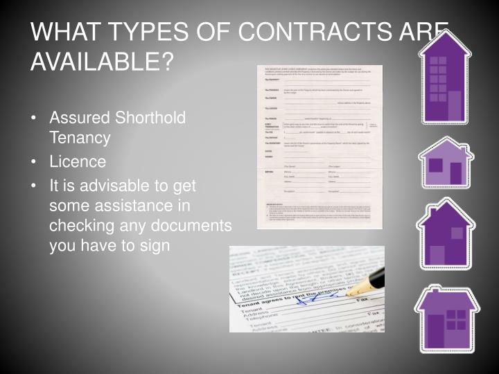 WHAT TYPES OF CONTRACTS ARE AVAILABLE?