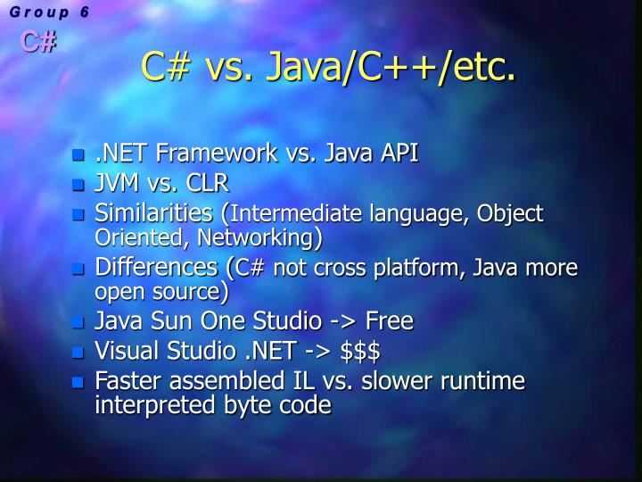 C# vs. Java/C++/etc.