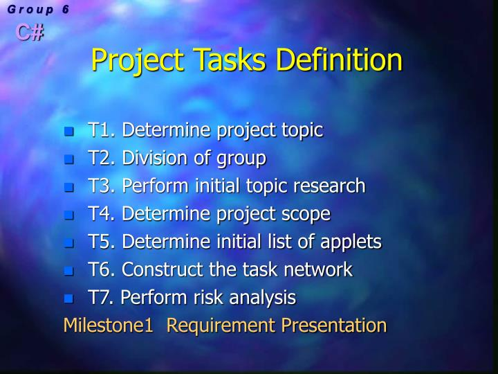 Project Tasks Definition
