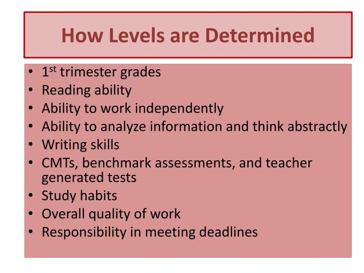 How Levels are Determined