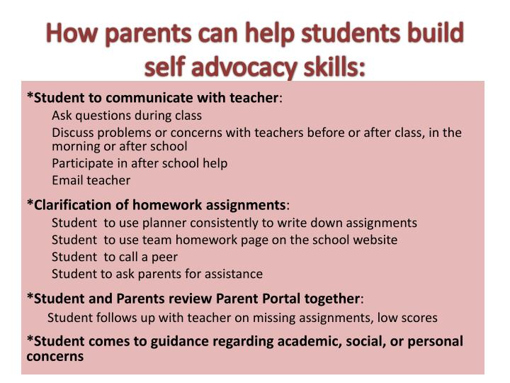 How parents can help students build self advocacy skills:
