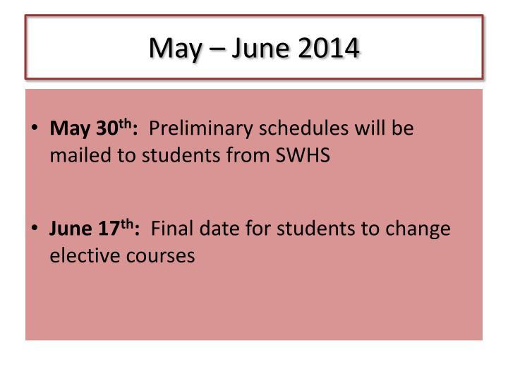 May – June 2014