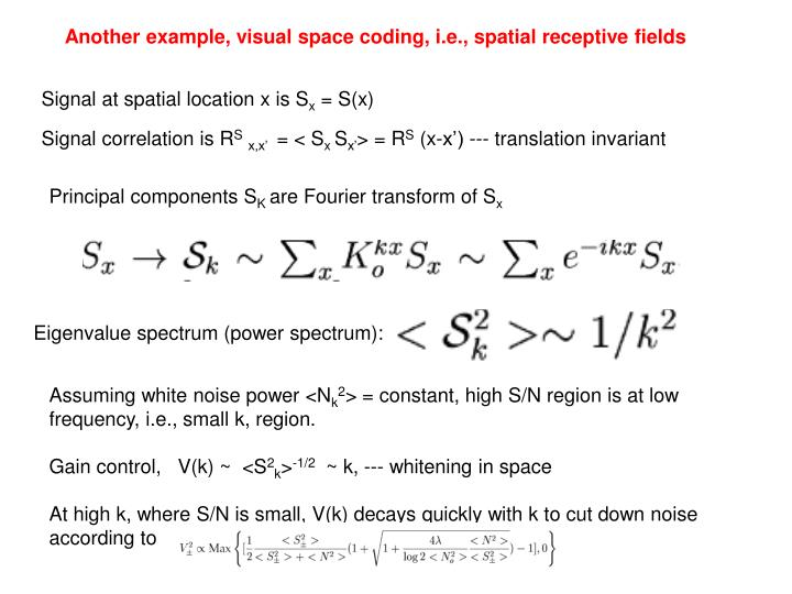 Another example, visual space coding, i.e., spatial receptive fields