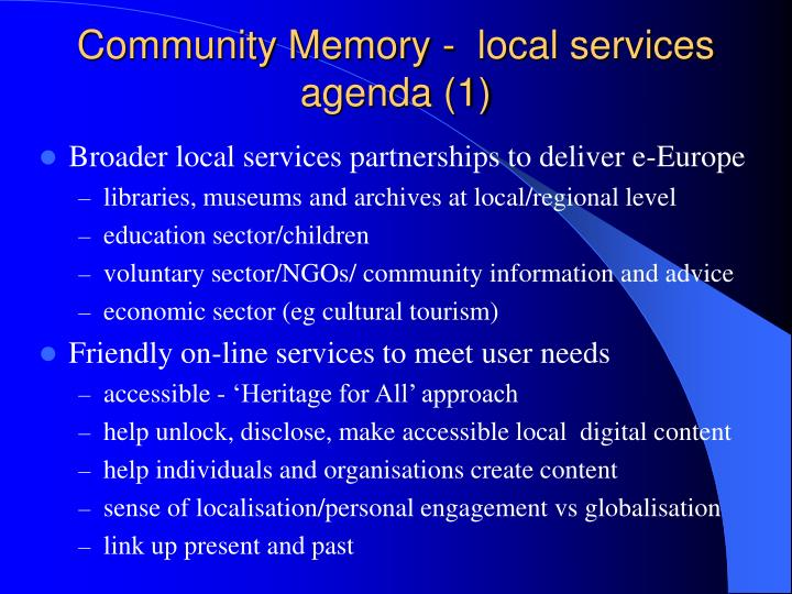 Community Memory -  local services agenda (1)