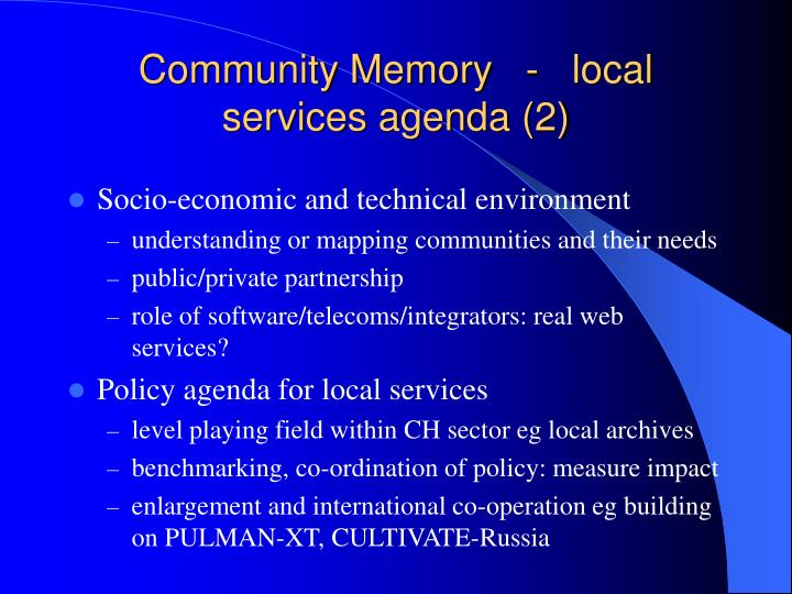 Community Memory   -   local services agenda (2)