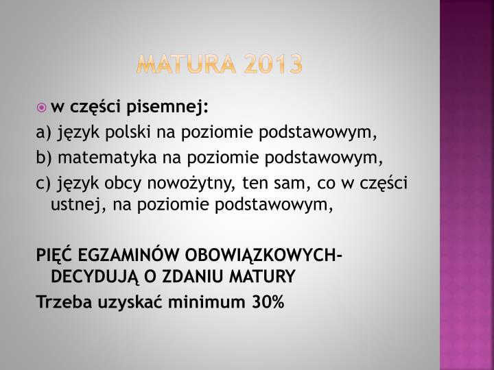 MATURA 2013