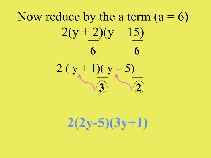 Now reduce by the a term (a = 6)