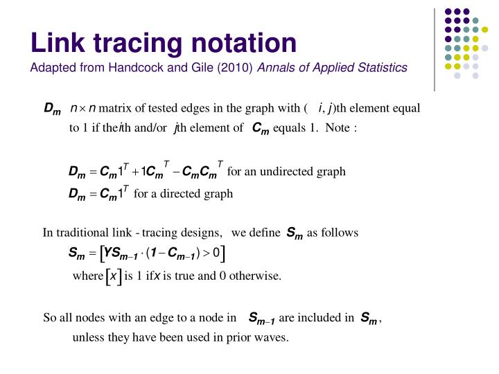 Link tracing notation