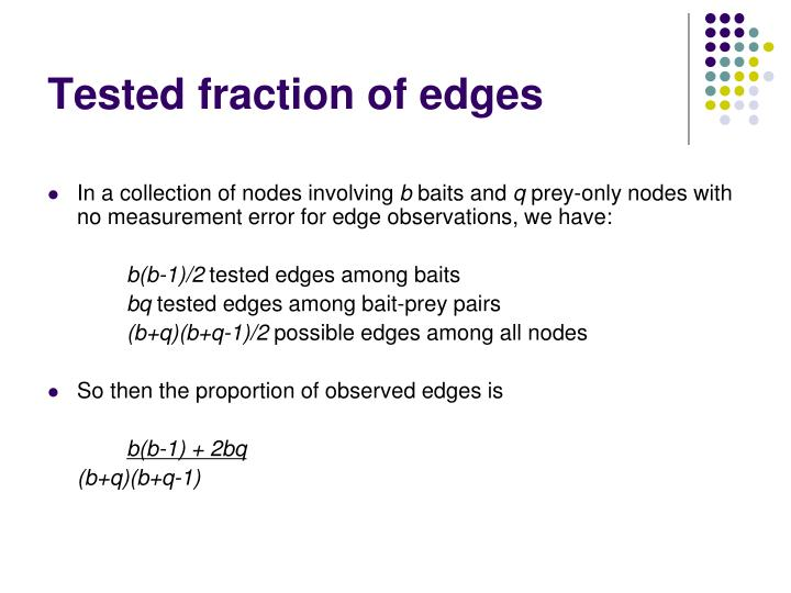 Tested fraction of edges