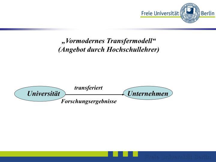 """Vormodernes Transfermodell"""