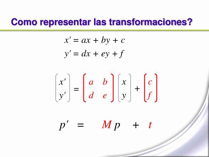 Como representar las transformaciones?