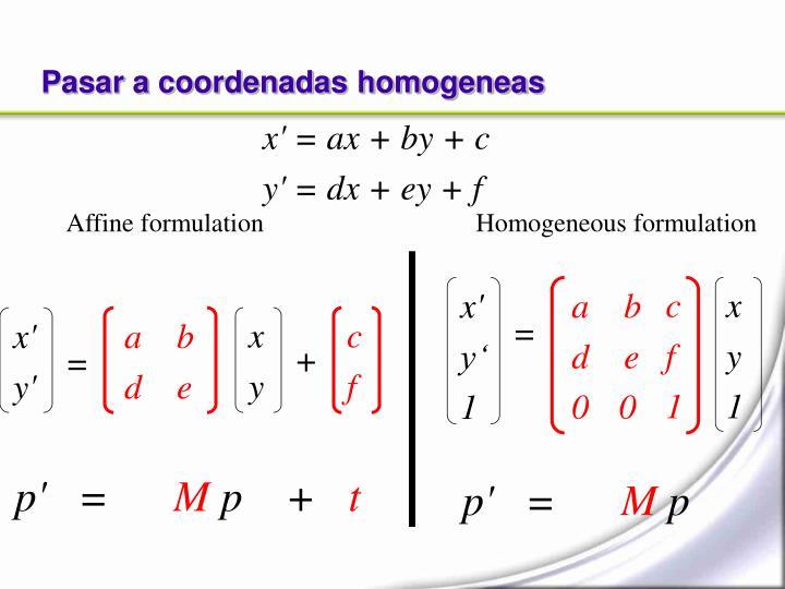 Pasar a coordenadas homogeneas