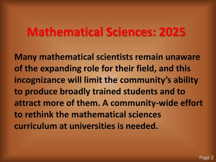 Mathematical Sciences: 2025