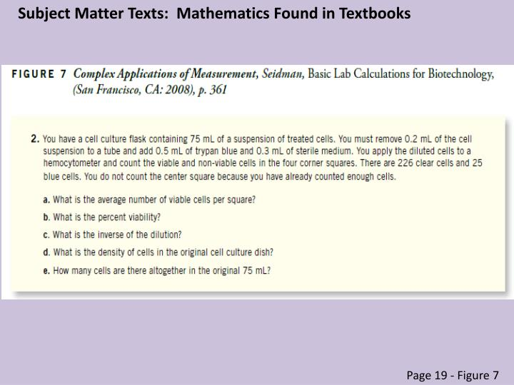 Subject Matter Texts:  Mathematics Found in Textbooks