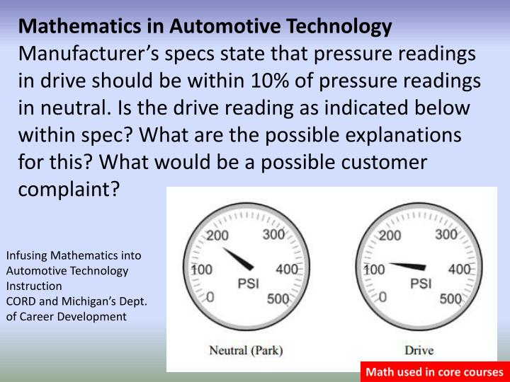 Mathematics in Automotive Technology