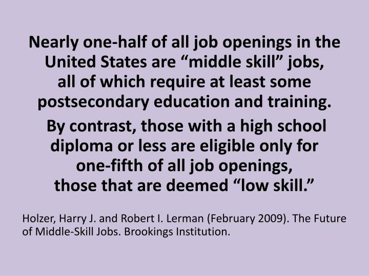 "Nearly one-half of all job openings in the United States are ""middle skill"" jobs,"