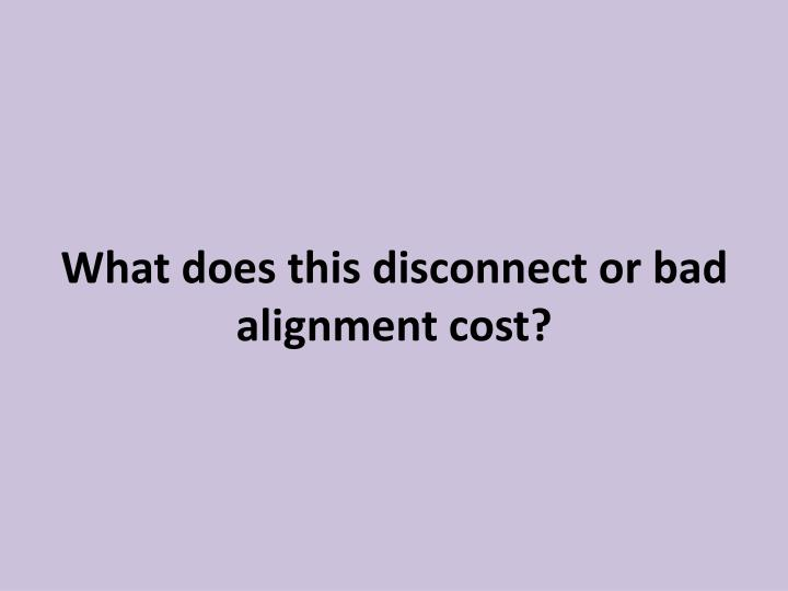 What does this disconnect or bad alignment cost?