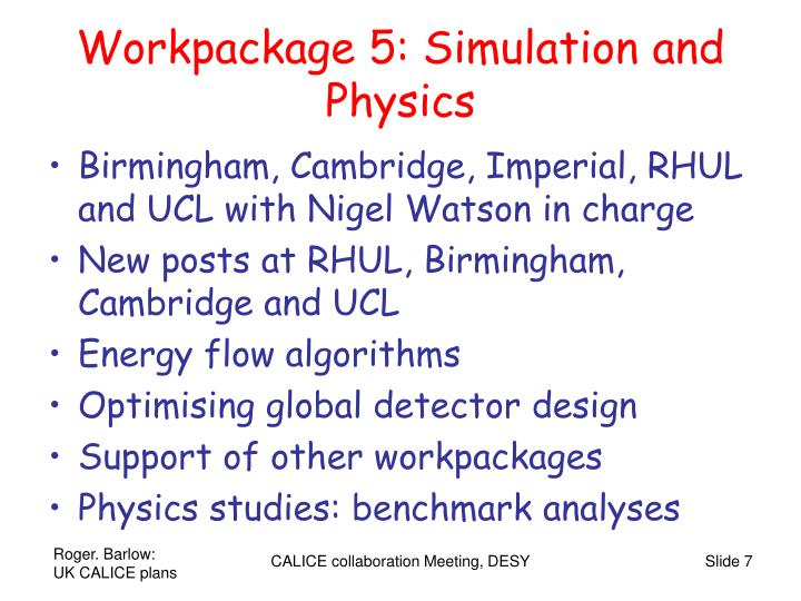 Workpackage 5: Simulation and Physics